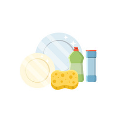 dishwashing set in a flat vector image