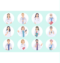 doctors male and female avatar set vector image