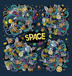 Doodles cartoon set space designs vector