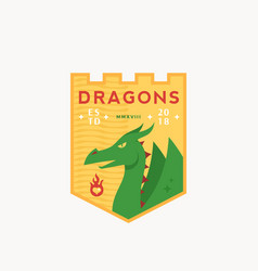 Dragons medeival sports team emblem abstract vector