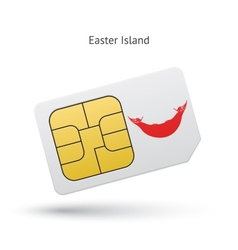 Easter island mobile phone sim card with flag vector