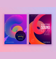 Electro sound club music flyer template design vector