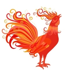 fire rooster symbol 2017 new year vector image