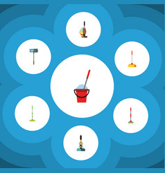 flat icon cleaner set of bucket besom equipment vector image