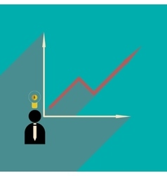 Flat with shadow icon growing graph and people vector