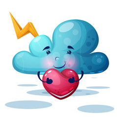 funny cute blue cloud characters vector image