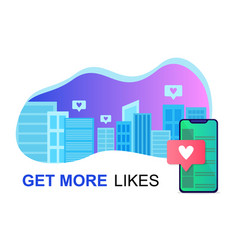 Get likes concept with city phone and cityscape vector