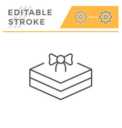 gift package editable stroke line icon vector image