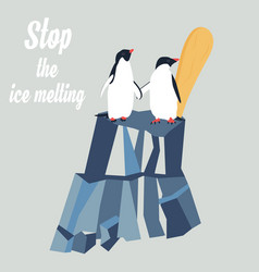 Global warming concept poster with penguins vector