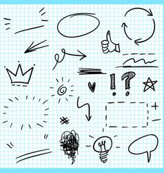 hand drawn set elements for concept design vector image
