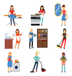 Housewife in housework activity set homemaker vector