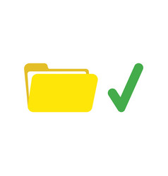 icon concept of open file folder with check mark vector image