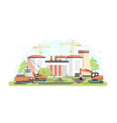 Industrial complex under construction - flat vector