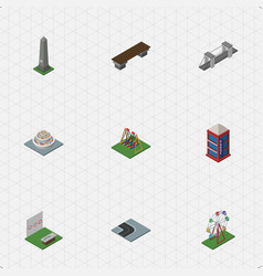 Isometric city set of dc memorial bench highway vector