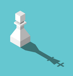 isometric king shadowed pawn vector image