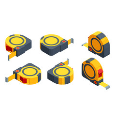 Isometric set icons tape measure isolated on vector