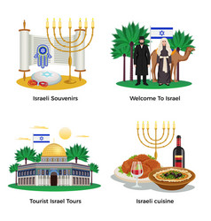 Israel concept icons set vector