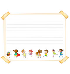 line paper template with kids vector image