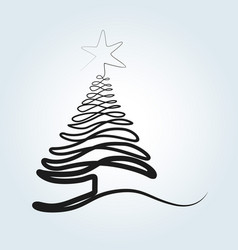 Line sketch of a christmas tree vector