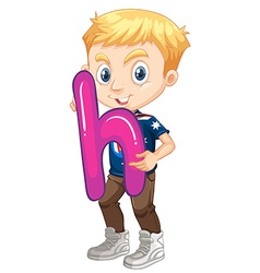 Little boy holding letter H vector