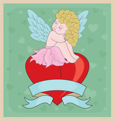 Little Cupid Girl Valentine vector