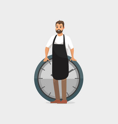 man and clock deadline of worker wearing apron vector image