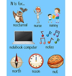 Many words begin with letter N vector