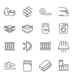 mattress features thin line icons set isolated vector image