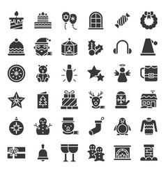 Merry christmas related icon set 4 glyph style vector