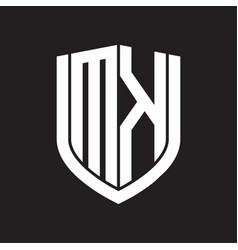 mk logo monogram with emblem shield design vector image