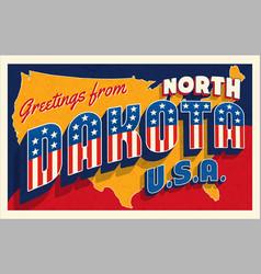 north dakota 4th july retro postcard vector image