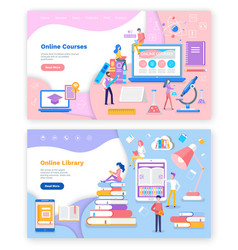 Online library and courses for students studies vector