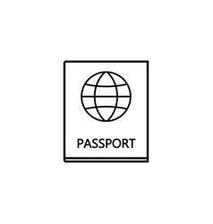 Passport line icon travel tourism citizen and id vector