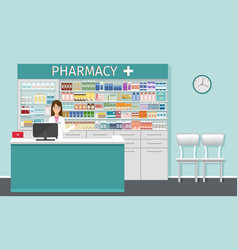 Pharmacy counter with pharmacist drugstore vector