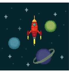 Pixel spaceship in starry space vector image