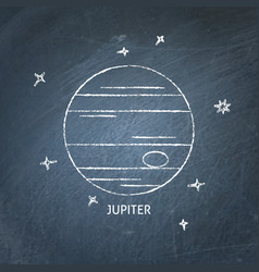 planet jupiter icon on chalkboard vector image