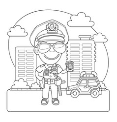 policeman coloring page vector image