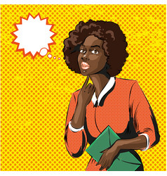 Pop art of african woman with vector
