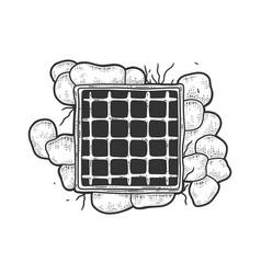 Prison window with bars sketch vector
