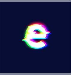 realistic glitch font character e vector image