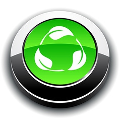 Recycle 3d round button vector