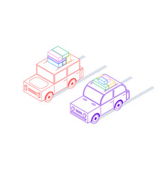 retro isometric cars vector image
