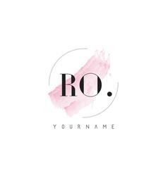 Ro watercolor letter logo design with circular vector