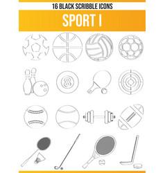 Scribble black icon set sport i vector
