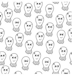 seamless pattern with cartoon octopuses vector image
