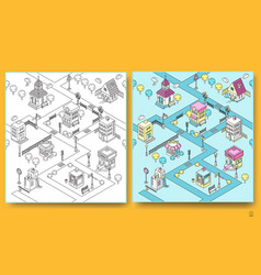 Seamless pattern with isometric buildings vector