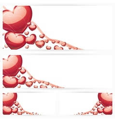 set horizontal banners with hearts background vector image