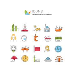 Set line icons kuwait vector