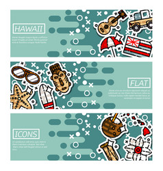 Set of horizontal banners about hawaii vector