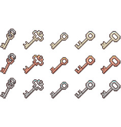 set of keys in pixel style vector image